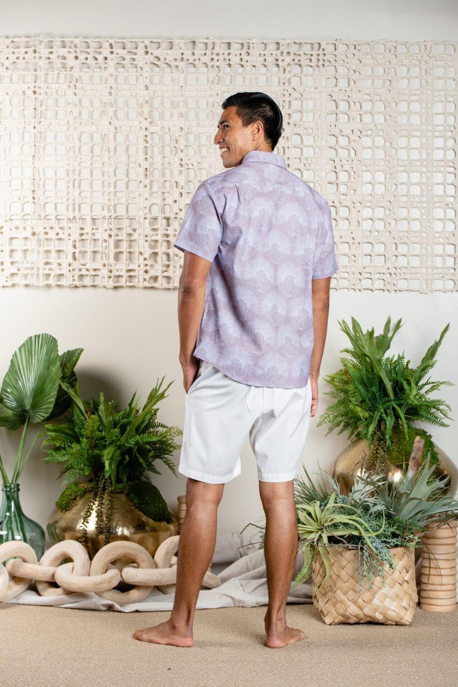 Male model wearing Aloha Short Sleeve in Kalihilehua - Back View