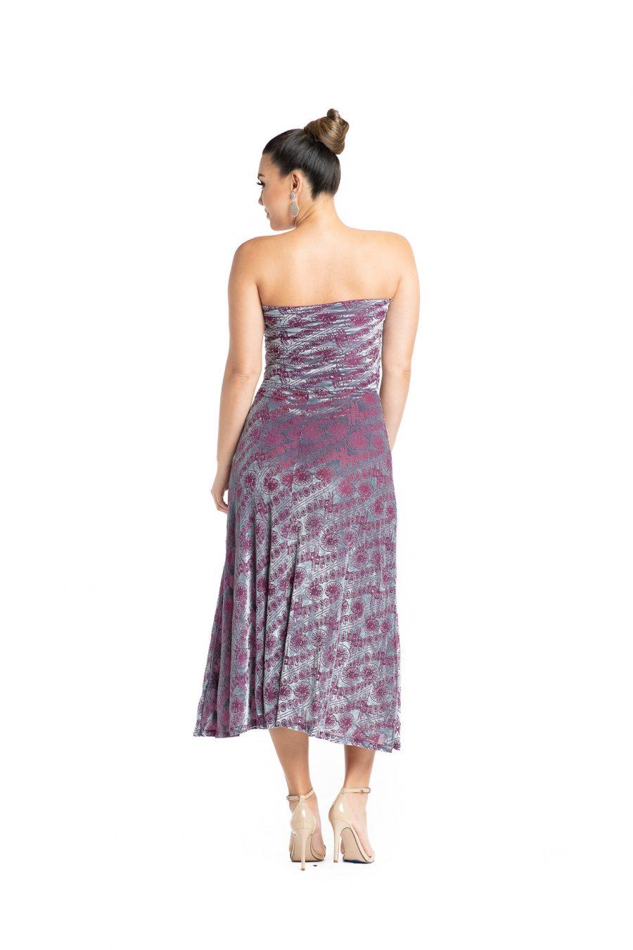 Model wearing Lahela Skirt in Pixiie Purple Amau - Back View