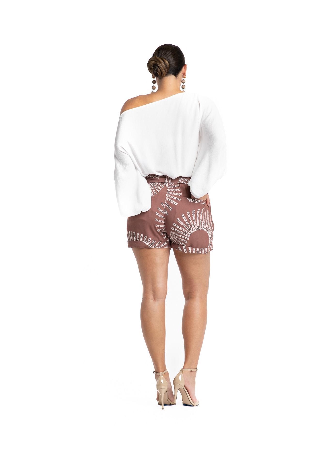 Model wearing Pua Ula Shorts with Belt - Back View