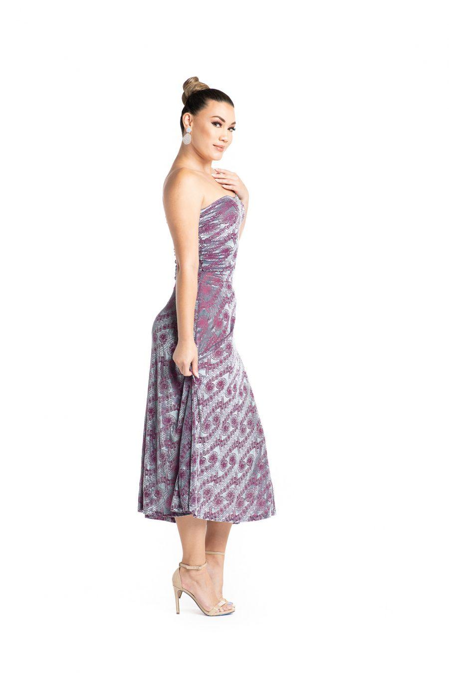 Model wearing Lahela Skirt in Pixiie Purple Amau - Side View