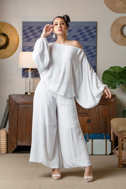 Model wearing Huakai Pant in Solid White - Front View