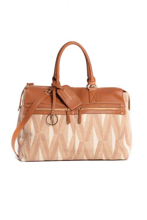 Huakai Weekender Bag in Natural Herringbone/Tanin Kanaola