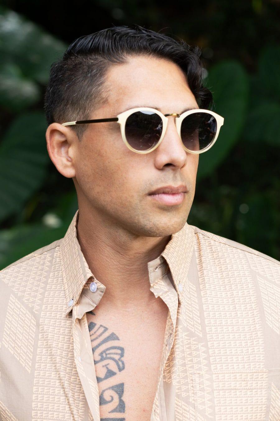 Male model wearing Janus Sunglasses in Crema