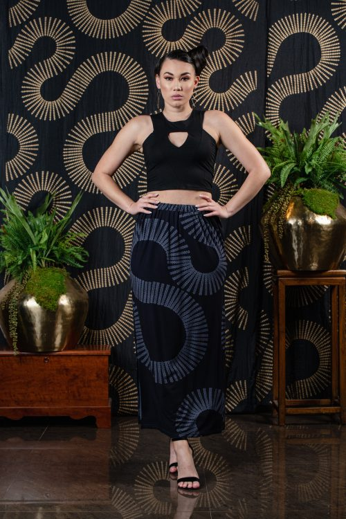 Model wearing Kahiki Skirt in Deepwell/Folkstone Lalanikalalea