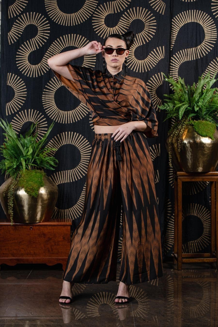 Model wearing Kapakai Flow Pant in Nanaka - Front View