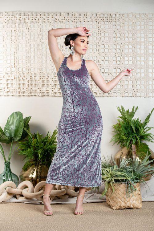 Model wearing Keahi Enaena Dress in Pixie Purple Kapualiko - Front View