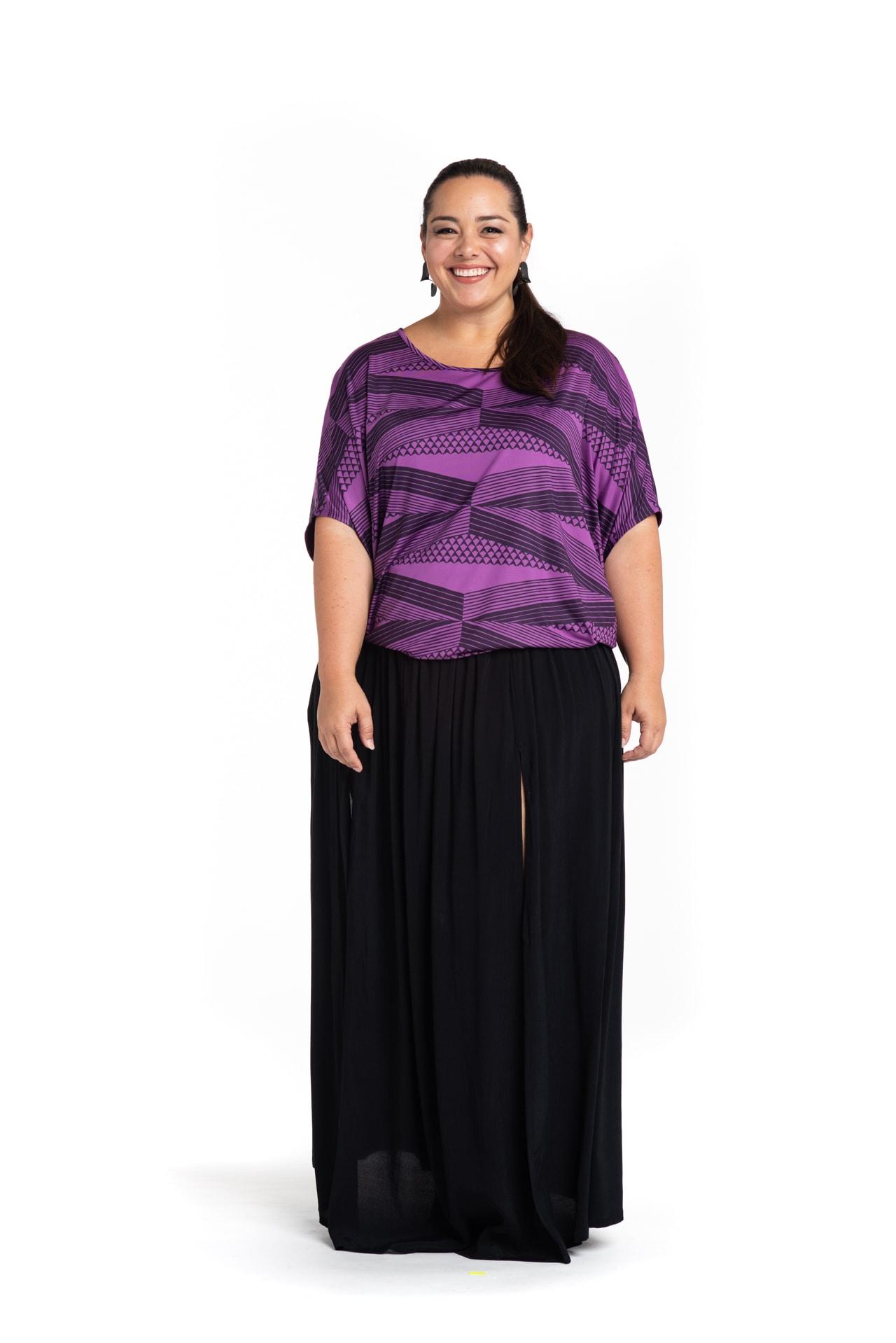 Model wearing Kealoha Top in Purple - Front View