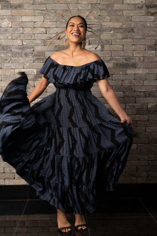 Model wearing Lauae Maxi Dress in Black/Folkstone Nihomaho