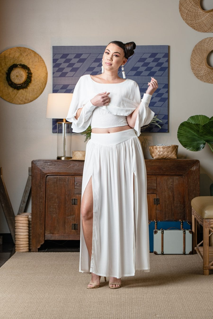 Model wearing MAOLI SKIRT-SOLID WHITE - Front View