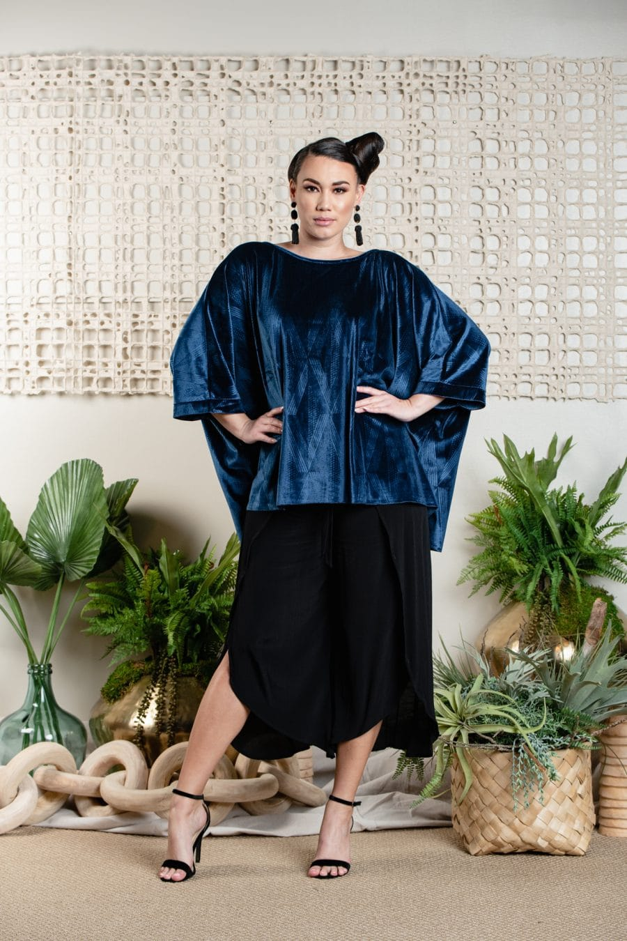 Model wearing Pakele Top in Blue Tide Kanaola - Front View