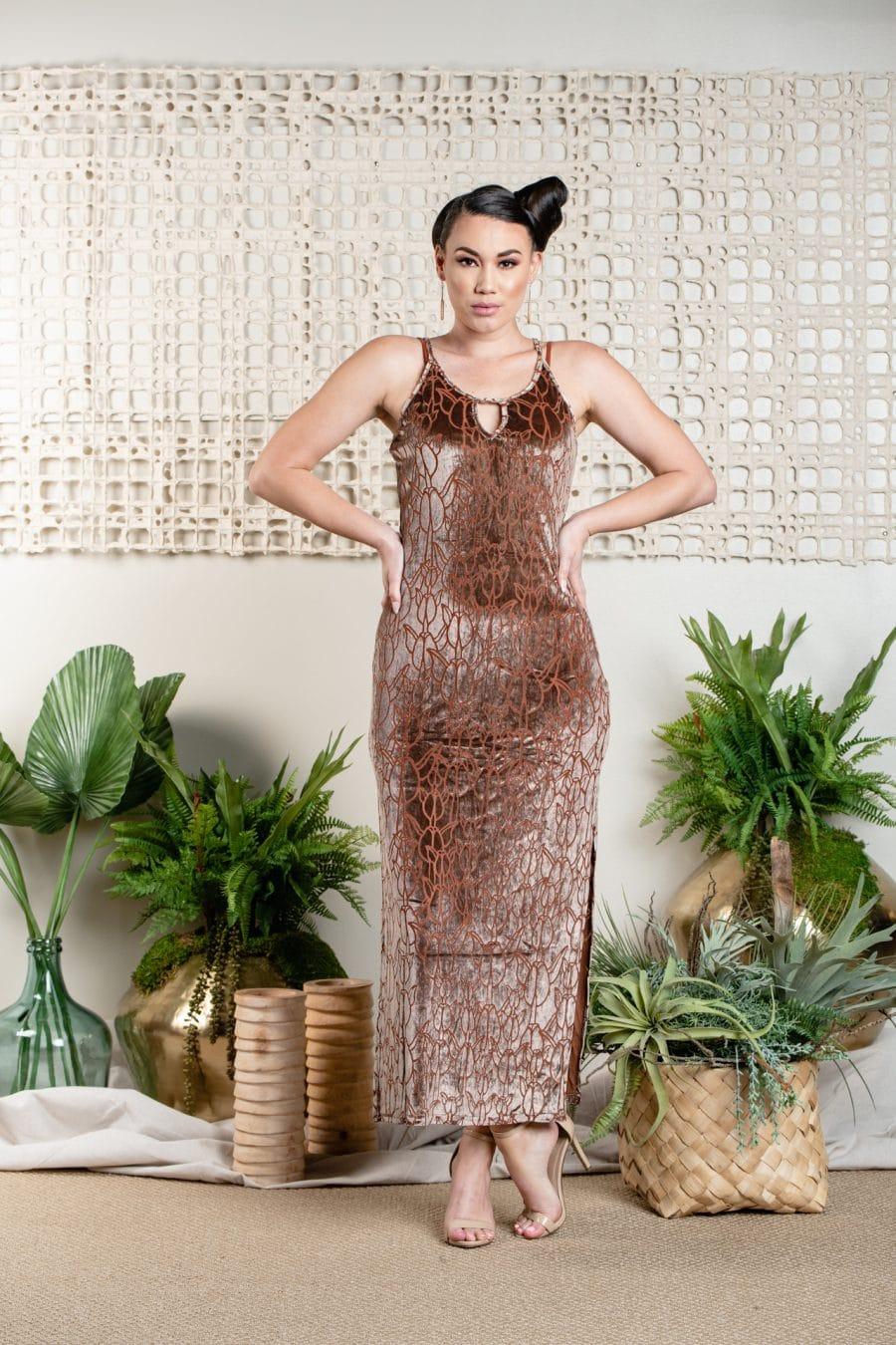 Model wearing Paniau Maxi Dress in Ginger Beer Kapualiko - Front View