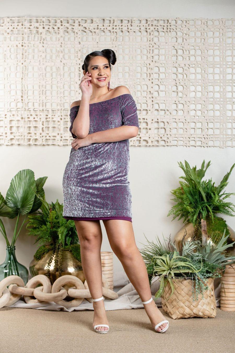 Model wearing AKALA SHORT DRESS in Pixie Purple Kapualiko