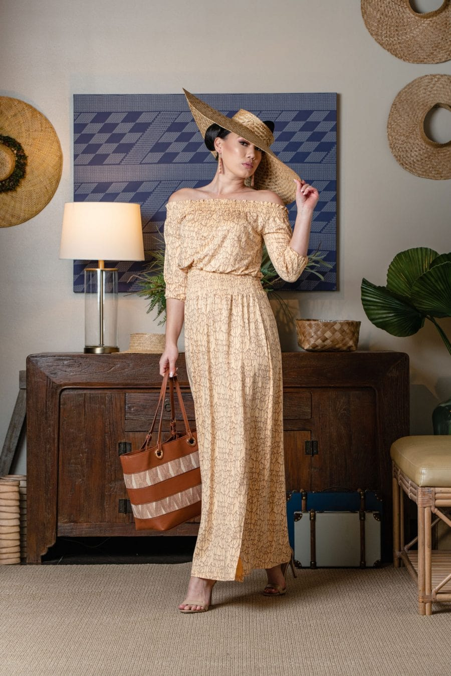 Model wearing NAHELE MAXI in Apricot Sherbert/Gingersnap Kapualiko - Front View
