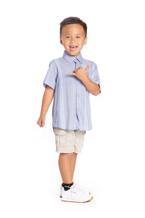 Boy wearing KEIKI ALOHA SHORT SLEEVE in Celestral/Illusion Blue