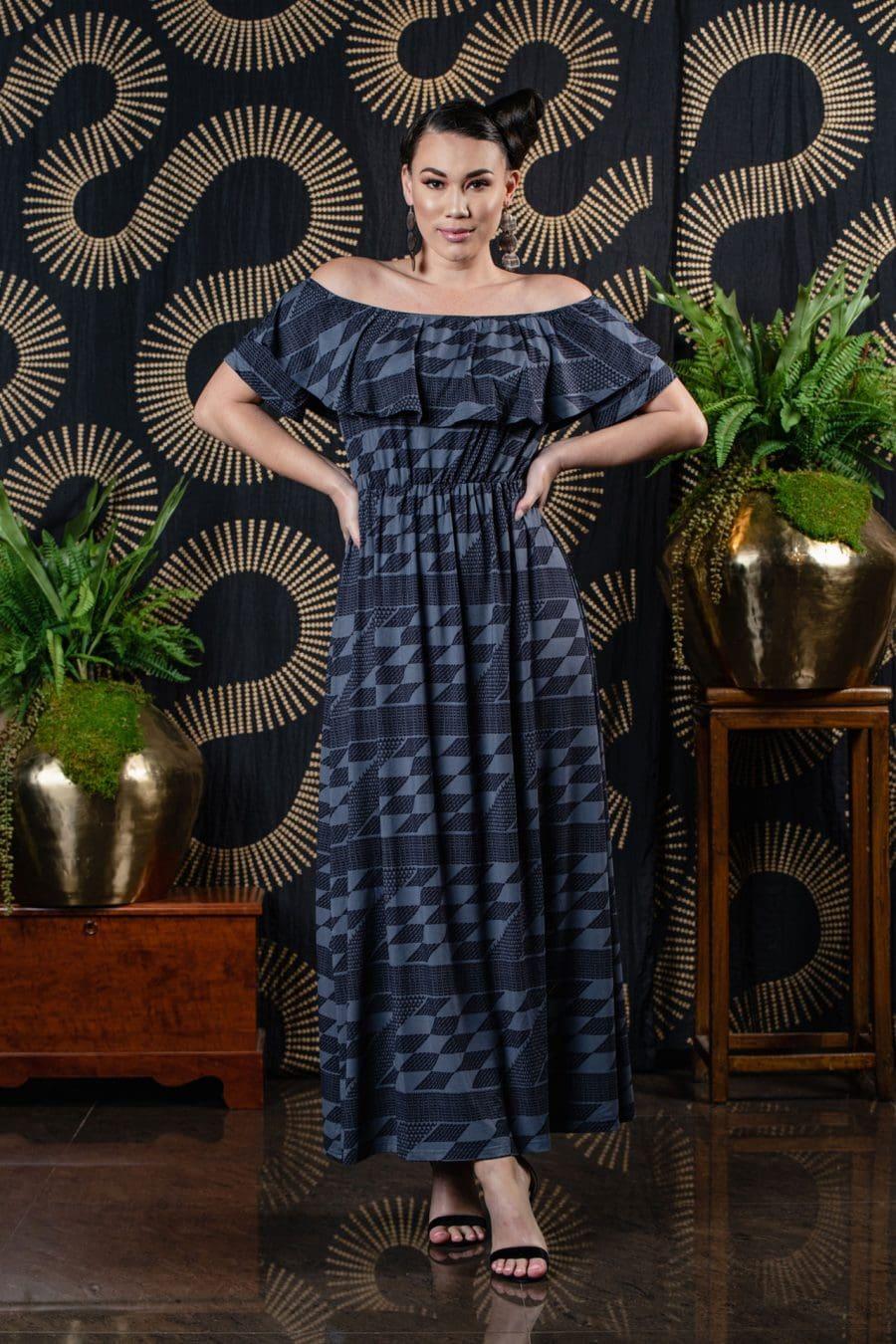 Model wearing Punaluu Maxi Dress in Folkstone Grey/Deepwell Kamehameha - Front View