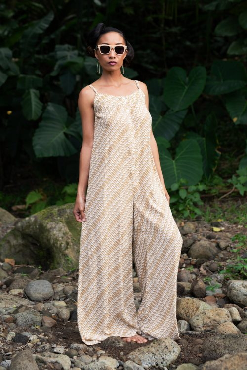 Model wearing Halaula jumpsuit in Tannin/Moonbeam - Front View