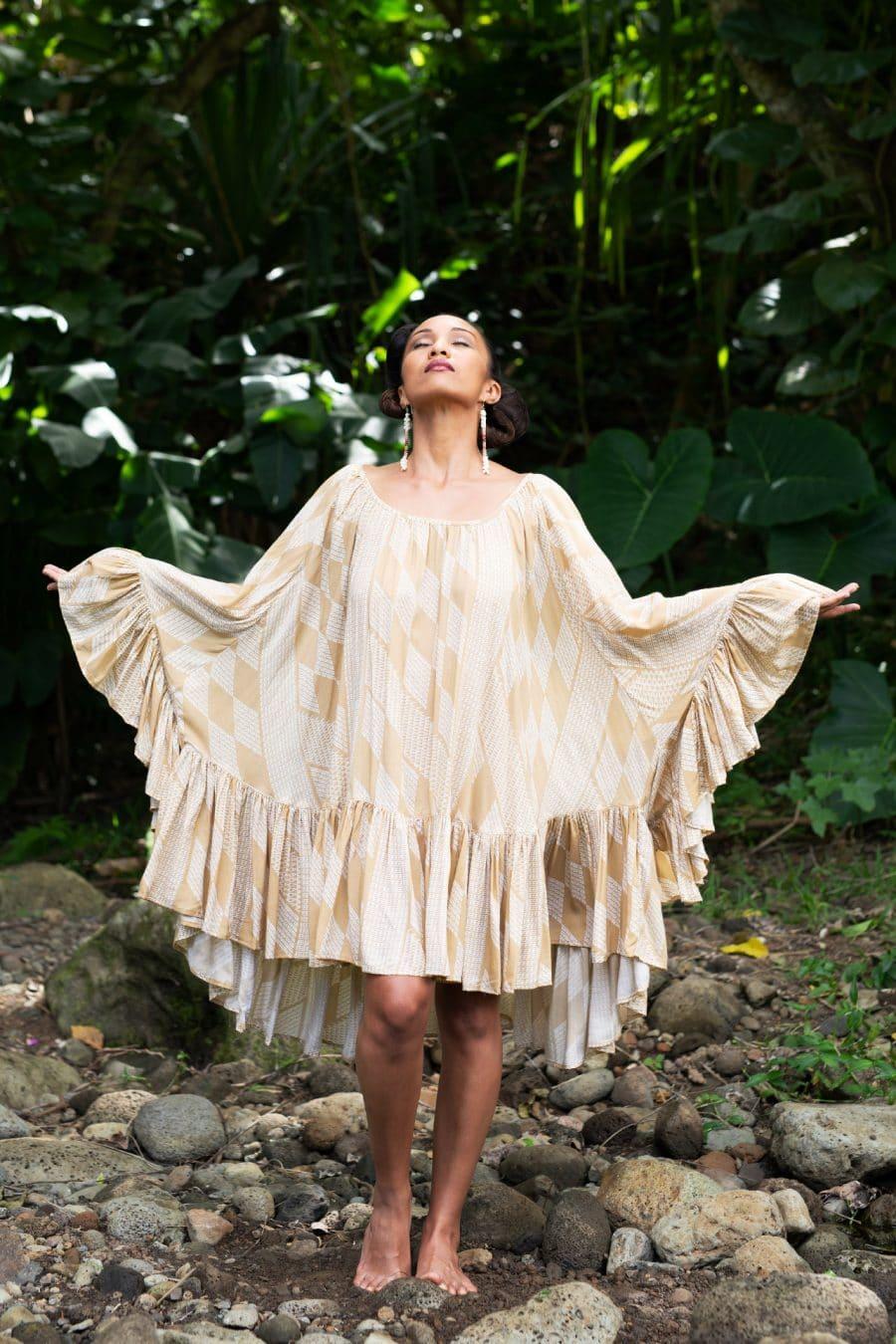 Model wearing Loulu Top in Tannin/Moonbeam - Front View