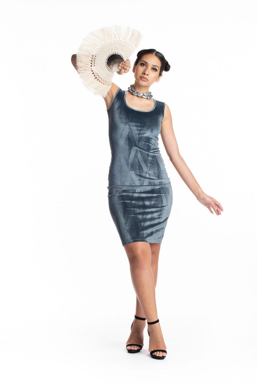 Model wearing Henohea Short Dress - Front View