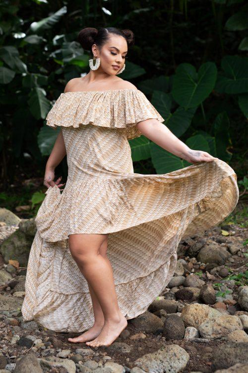 Model wearing Hauoli Long Dress in Tannin/Moonbeam Hulu Nene - Front View