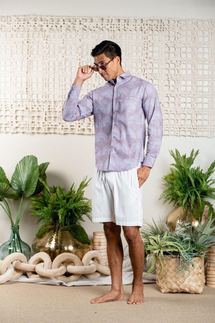 Male model wearing Aloha Long Sleeve in Lavender Blue/Halogen Blue Kalihilehua - Front View