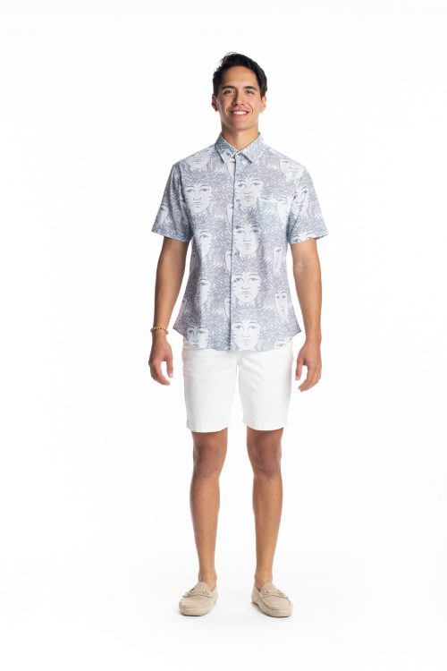 Male model wearing Aloha Short Sleeve in Halogen Blue/Folkstone Grey Laukapalili - Front View View