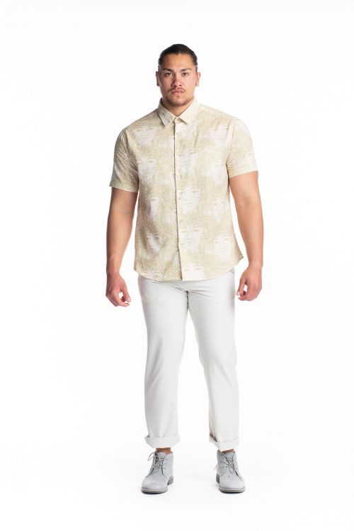 Male model wearing Aloha Short Sleeve in White Swan/Sage Green/Laukapalili - Front View