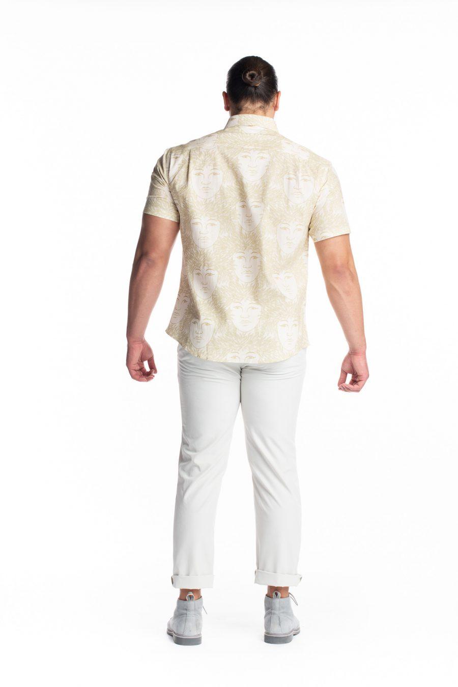 Male model wearing Aloha Short Sleeve in White Swan/Sage Green/Laukapalili - Back View