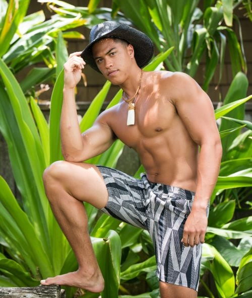 Male model wearing Keola Shorts in Black Windchime Kanaloa Pattern - Front View