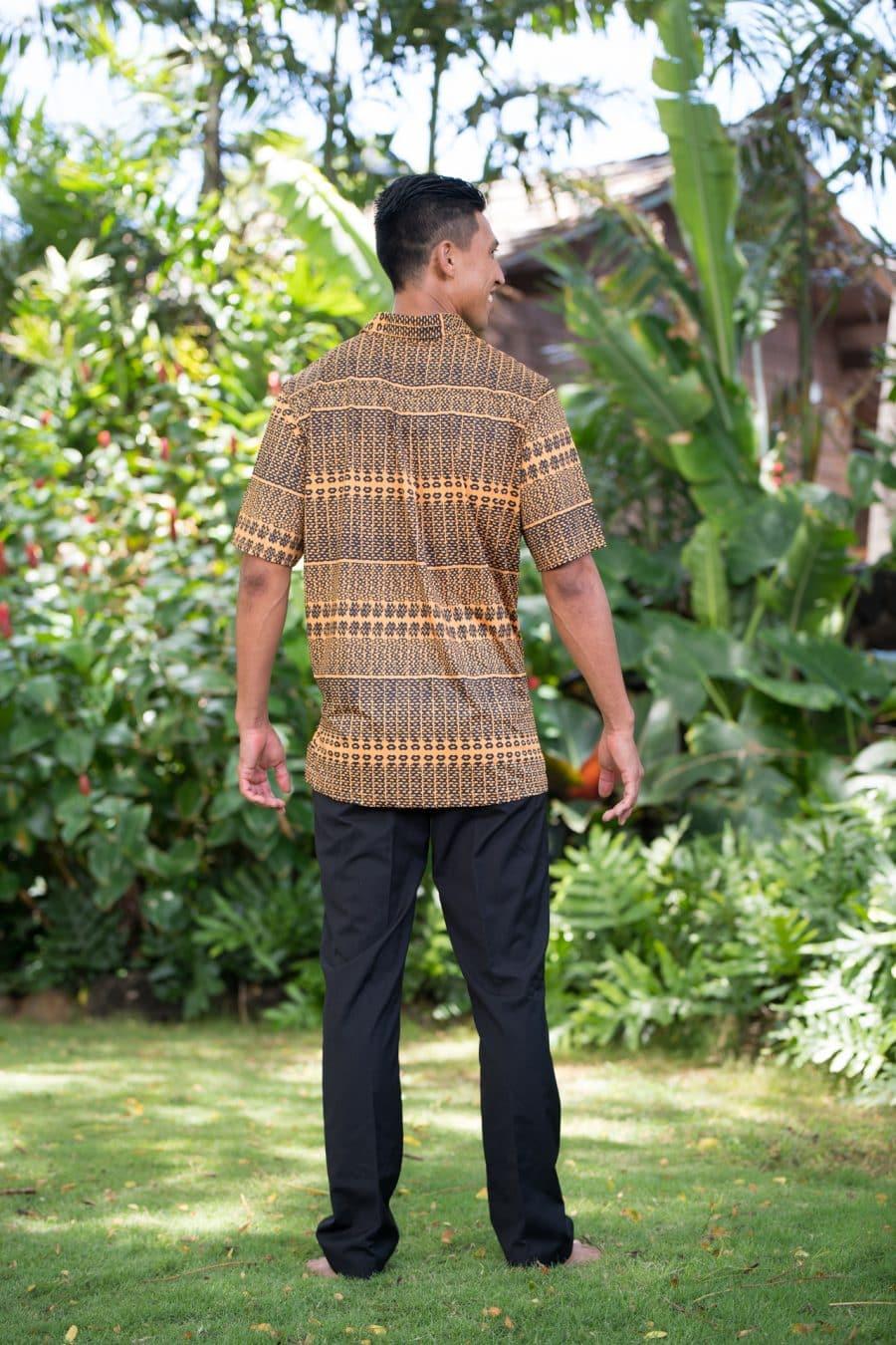 Male model wearing Golf Aloha Pullover Shirt in Golden Yellow Black Akoakoa Pattern - Back View