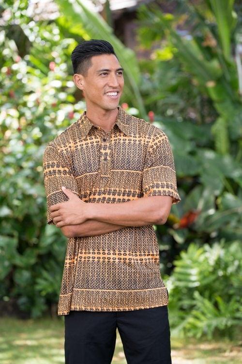 Male model wearing Golf Aloha Pullover Shirt in Golden Yellow Black Akoakoa Pattern - Front View