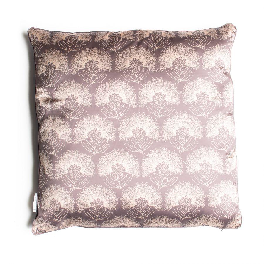 20x20 Silk Pillow in Gingersnap Apricot Sherbert Kalihilehua Pattern