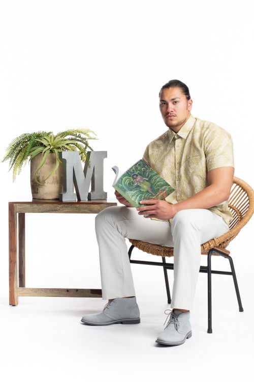 Male model wearing Aloha Short Sleeve in White Swan/Sage Green Laukapalili - Front View