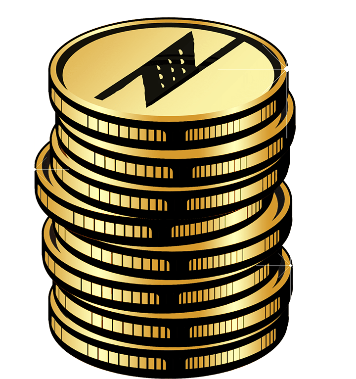 Gold Stacked Coins - Manaola Rewards on Transparent Background