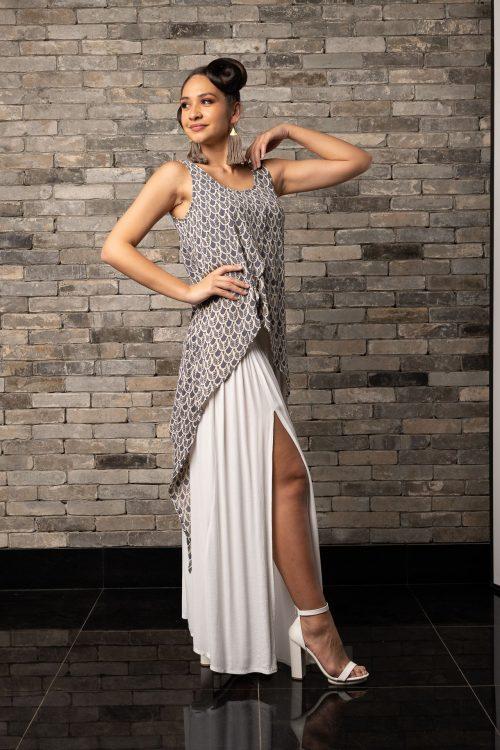 Model wearing Tapa Top in Pavement Moonbeam Palulu Pattern