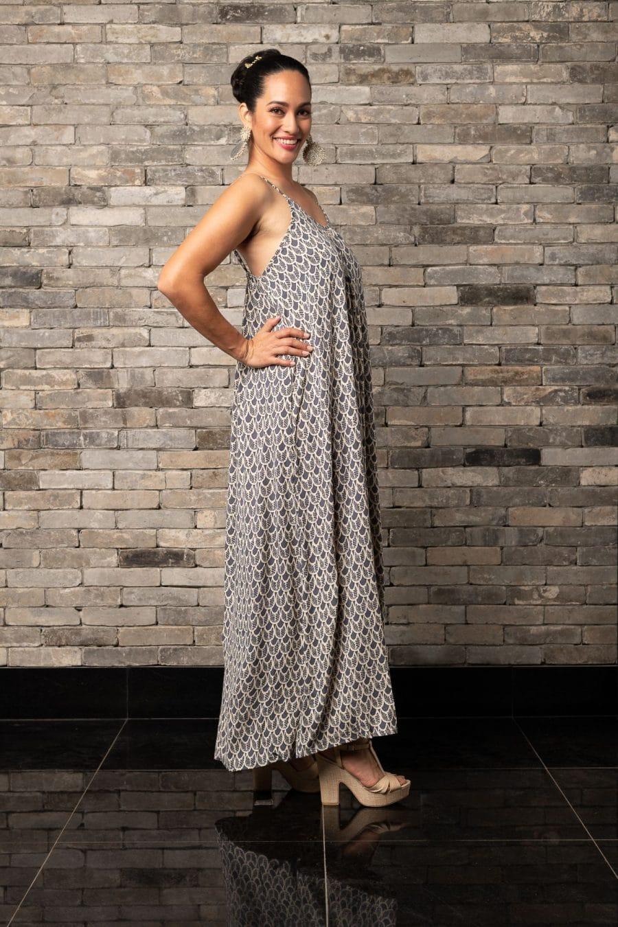 Model wearing Lei Dress in Pavement Moonbeam Palulu Pattern - Side View