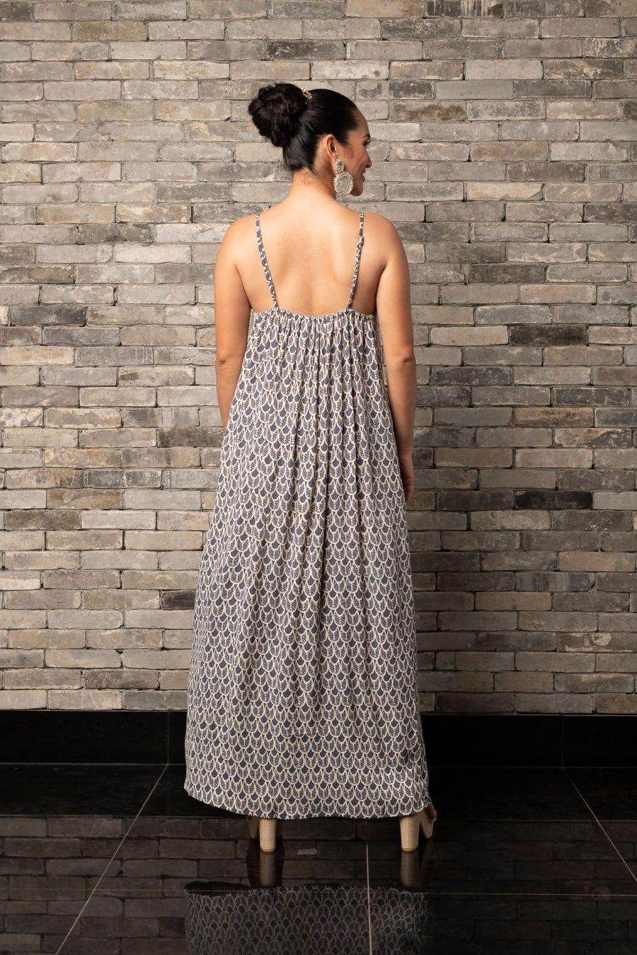 Model wearing Lei Dress in Pavement Moonbeam Palulu Pattern - Back View