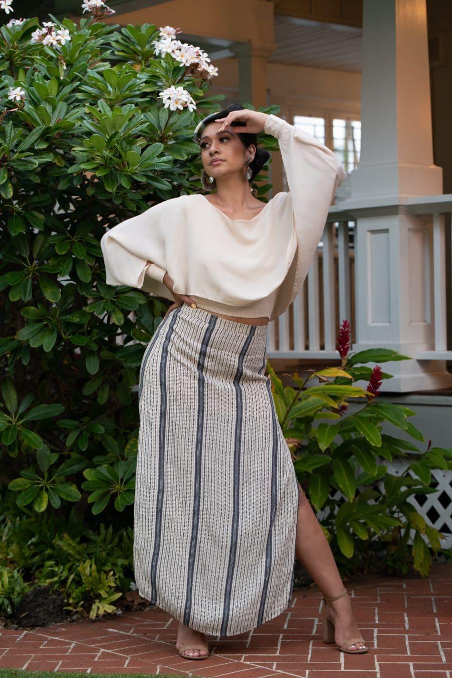 Model wearing Kahiki Skirt Long in Pavement Moonbeam Hoonionio Pattern - Front View