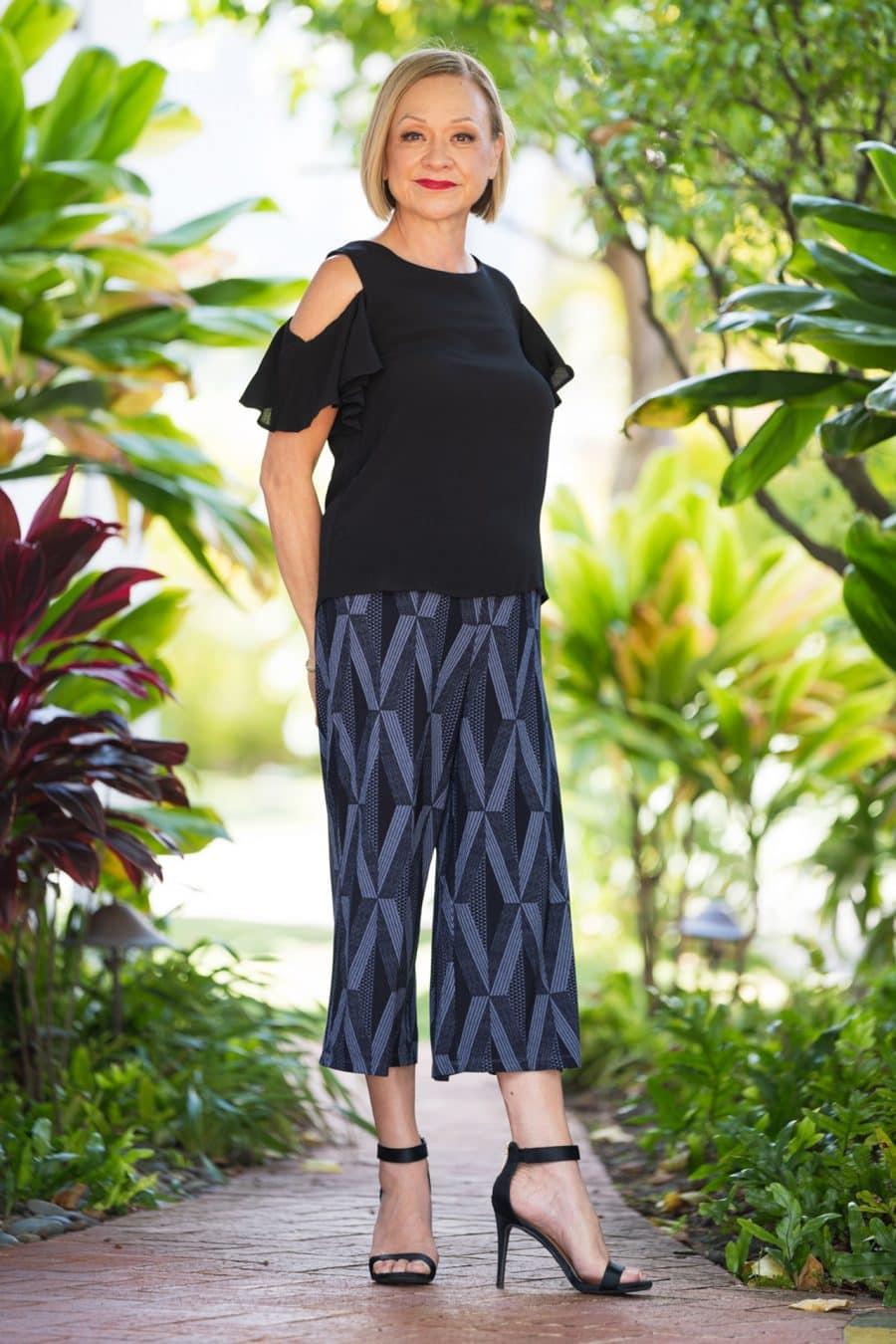Model wearing Kalei Kulots in Deepwell Folkstone Grey Kanaloa Pattern - Front View