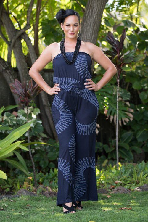 Model wearing Pakalana Jumpsuit in Deepwell Folkstone Grey Lalainkalalea Pattern - Front View