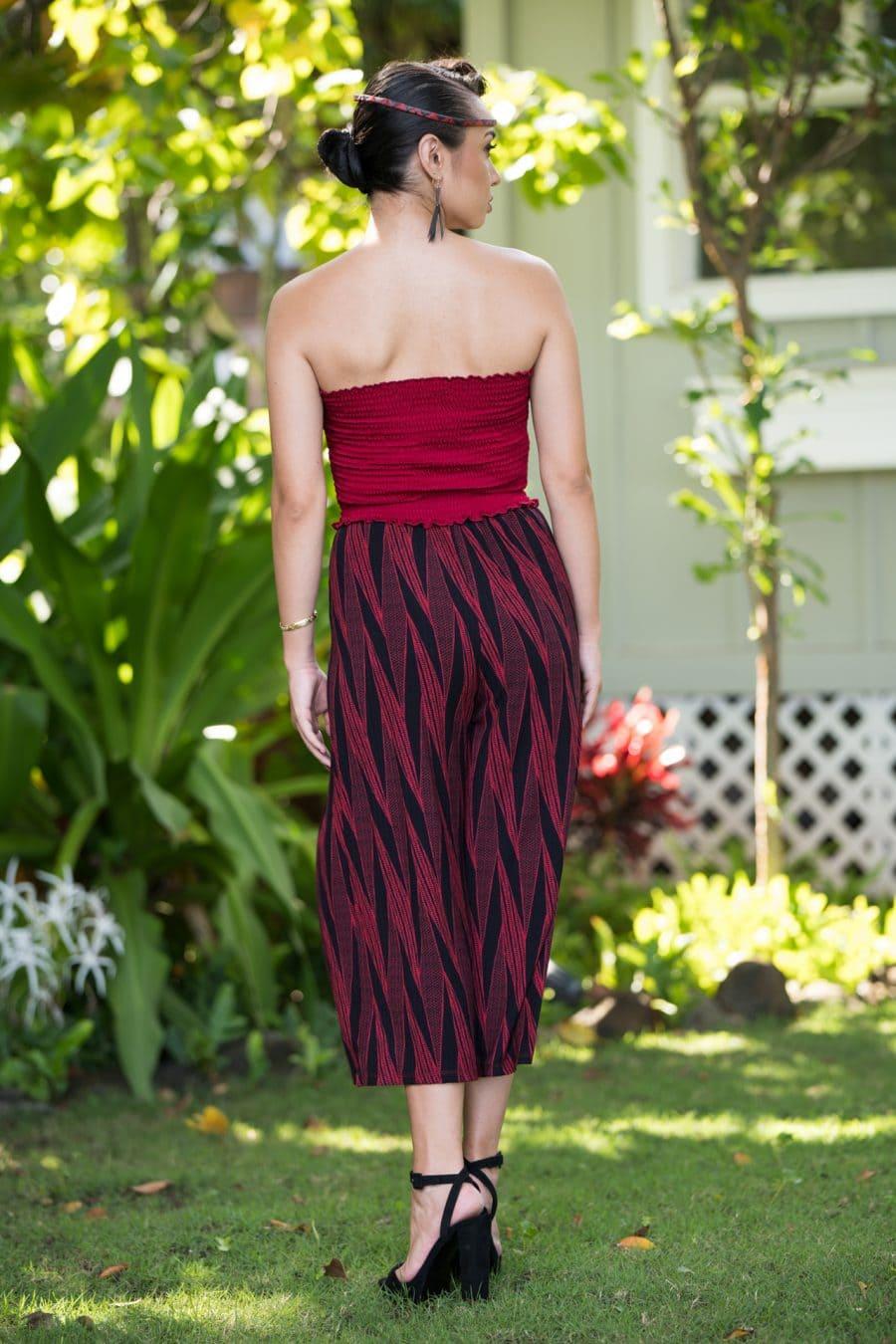 Model wearing Kalei Kultots in Deppwell Brick Red Kialoa Pattern - Back View