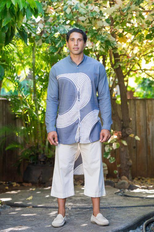 Male model wearing Mandarin Half Tunic in Pavement Moonbeam Poai Pattern - Front View
