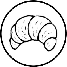 French Croissant Icon on Transparent Background