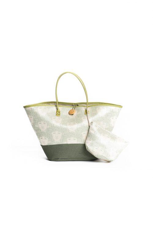 Puamelia Bag Set in Cloud Creme Sage Green Laukapalili Pattern