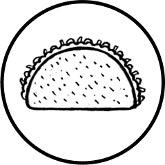 Mexican taco icon on transparent background