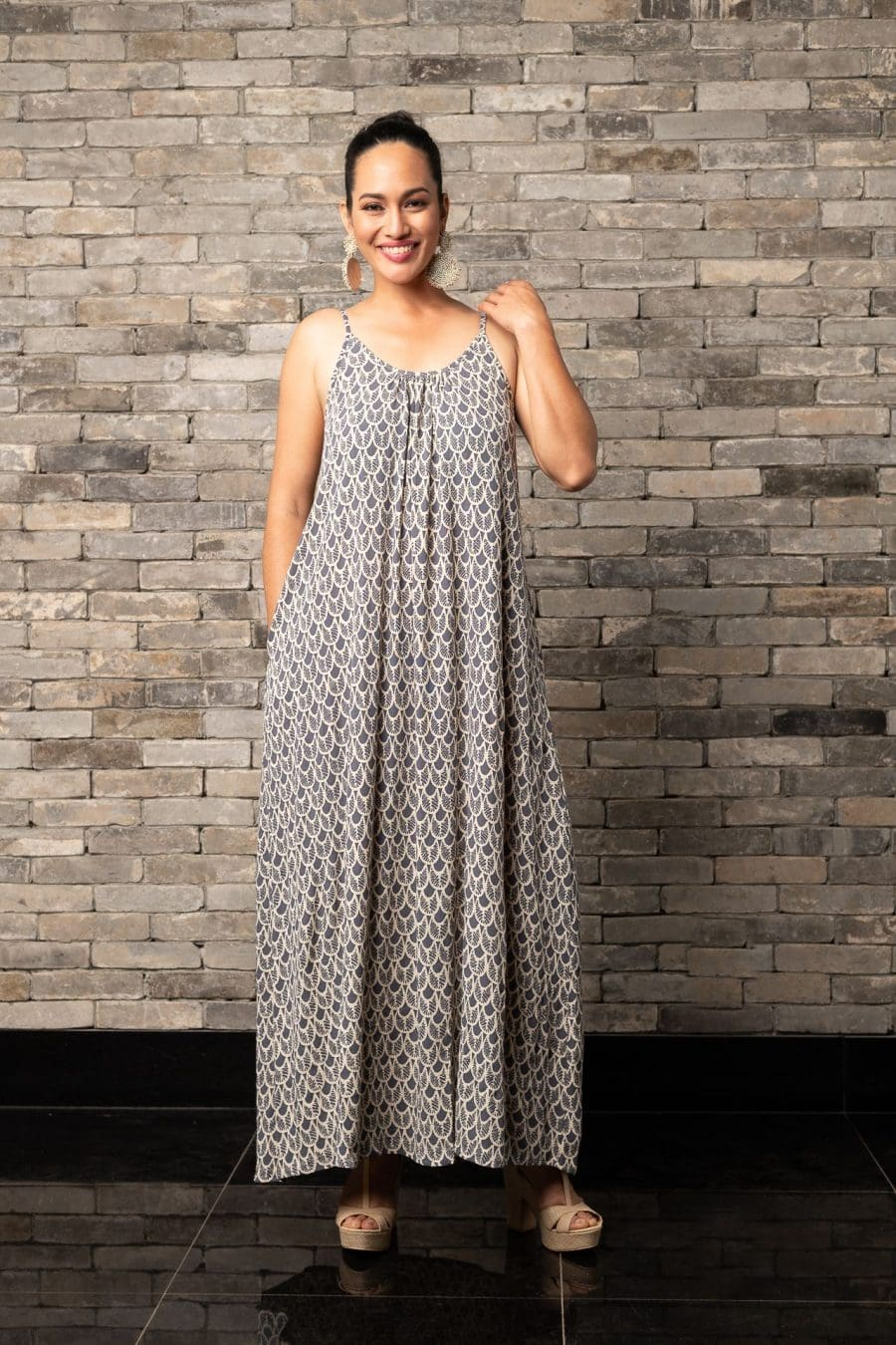 Model wearing Lei Dress in Pavement Moonbeam Palulu Pattern - Front View