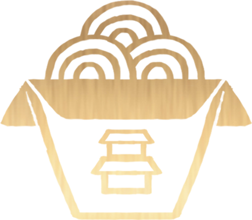 Gold Asian Icon on Transparent Background