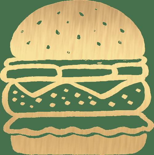Gold Hamburger Icon on Transparent Background