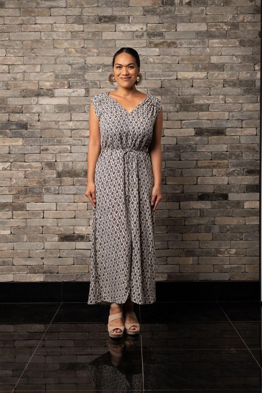 Model wearing Alena Long Dress in Pavement Moonbeam Palulu Pattern - Front View