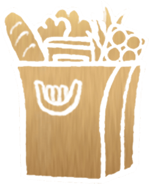 Gold Grocery Icon on Transparent Background