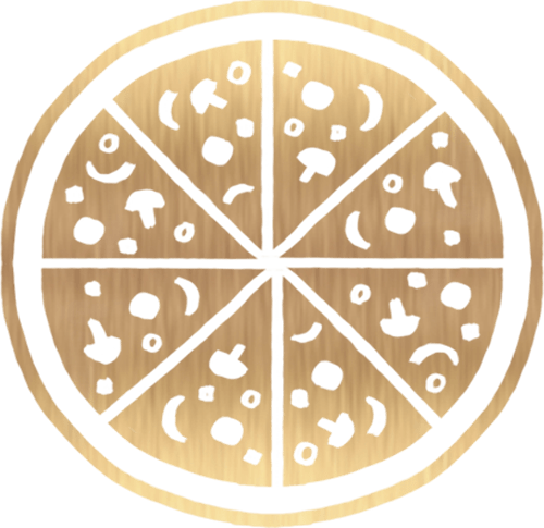Gold Pizza Icon on Transparent Background